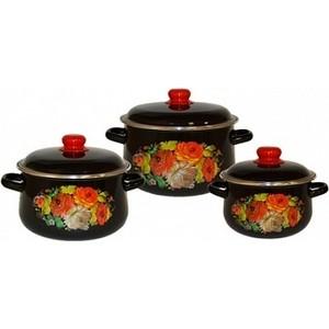 Набор эмалированной посуды 3 предмета СтальЭмаль Жостово 1с408