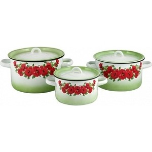 Набор эмалированной посуды 3 предмета СтальЭмаль Восточный мак 1с144