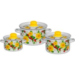 Набор эмалированной посуды 3 предмета СтальЭмаль Земляника 1с144