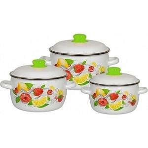 Набор эмалированной посуды 3 предмета СтальЭмаль №02 Лимон 1КА021М