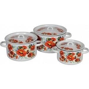 Набор эмалированной посуды 3 предмета СтальЭмаль Маки мечта 1с33