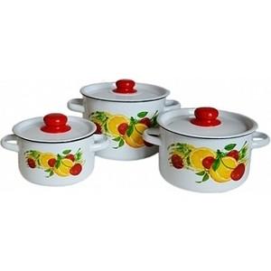 Набор эмалированной посуды 3 предмета СтальЭмаль Фрутта 1с144