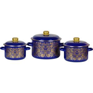 Набор эмалированной посуды 3 предмета СтальЭмаль №19 Узор 3КВ191М