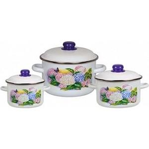 Набор эмалированной посуды 3 предмета СтальЭмаль №19 Сирень 1КВ191М