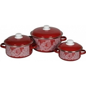 Набор эмалированной посуды 3 предмета СтальЭмаль №08 Вологодское кружево 8КВ081М