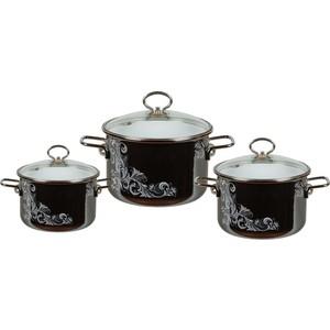 Набор эмалированной посуды 3 предмета Vitross №02 Iseberg мокрый асфальт 8DB025S