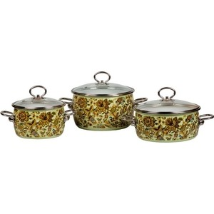 Набор эмалированной посуды 3 предмета Vitross №13 Imperio салатовый 8DA135S