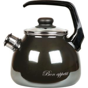 Чайник эмалированный со свистком 3.0 л Vitross Bon Appetit мокрый асфальт 1RC12