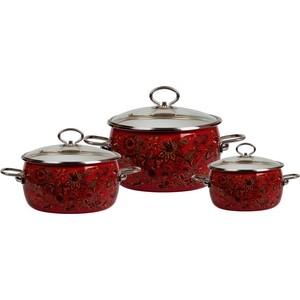 Набор эмалированной посуды 3 предмета Vitross №14 Imperio вишня 8DA145S