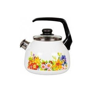 Чайник эмалированный со свистком 3.0 л СтальЭмаль Полянка 4с209я