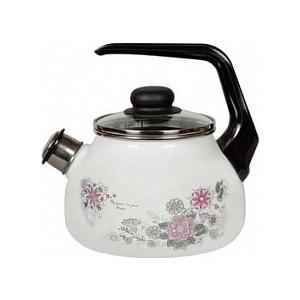 Чайник эмалированный со свистком 2.0 л СтальЭмаль Весенний романс 4с210я
