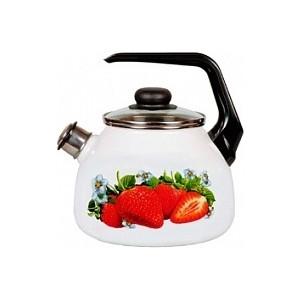Чайник эмалированный со свистком 3.0 л СтальЭмаль Клубника садовая 4с209я