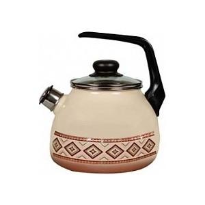 Чайник эмалированный со свистком 3.0 л СтальЭмаль Шоколад 4с209я фото