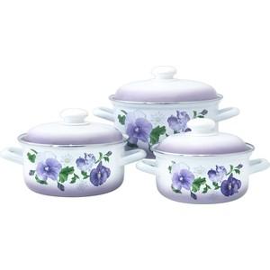 Набор эмалированной посуды 3 предмета Лысьвенские эмали Анютины глазки 124АП2/7