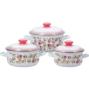 Набор эмалированной посуды 3 предмета Лысьвенские эмали Китайская роза 124АП2/7