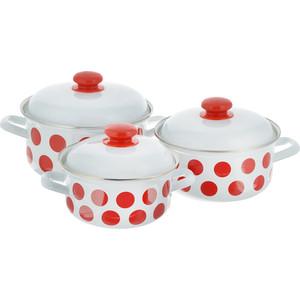 Набор эмалированной посуды 3 предмета Лысьвенские эмали Красный горох 124АП2/4 набор для приготовления чипсов mastrad цвет красный 4 предмета