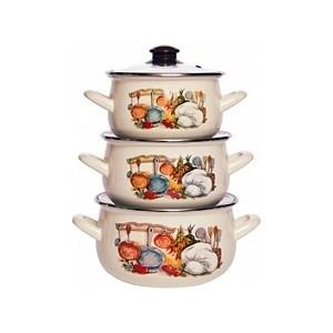 Набор эмалированной посуды 3 предмета Interos Кухня 15156