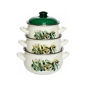 Набор эмалированной посуды 3 предмета Interos Маслины 15231