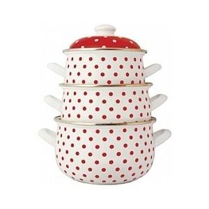Набор эмалированной посуды 3 предмета Interos Горошек 6009Г