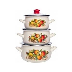 Набор эмалированной посуды 3 предмета Interos Яблоки 15199