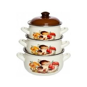 Набор эмалированной посуды 3 предмета Interos Грибы 15251