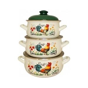 Набор эмалированной посуды 3 предмета Interos Петушок 16366а