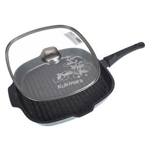 Сковорода-гриль 28х28 см со съемной ручкой и крышкой Kukmara Темный мрамор (сгкмт282а) цены онлайн