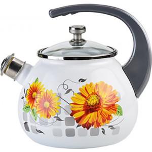 цена Чайник эмалированный со свистком 2.5 л Laurel Life in flowers (L92711LiF)