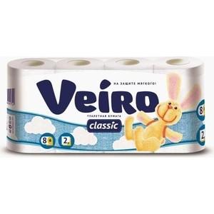 Туалетная бумага Veiro Classik белая 2 слоя 8 рулонов