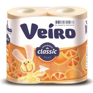 Туалетная бумага Veiro Classic, желтая, абрикос, 2х-слойная, 4 рулона