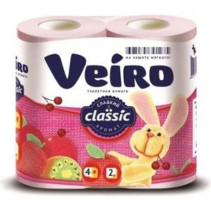 Туалетная бумага Veiro Classic, розовая, 2х-слойная, 4 рулона