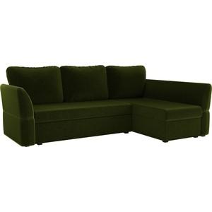 Диван угловой АртМебель Гесен микровельвет зеленый правый угол диван угловой артмебель принстон микровельвет зеленый правый угол