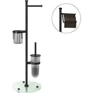 Стойка для туалета Wasserkraft Isar K-7300 с круглым основанием, темная бронза/матовое стекло (K-1246)