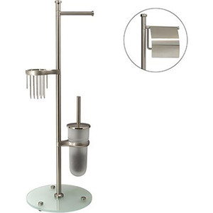 Стойка для туалета Wasserkraft K-1236 с круглым основанием, хром матовый/матовое стекло