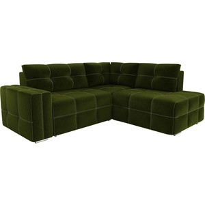 Диван угловой АртМебель Леос микровельвет зеленый правый угол диван угловой артмебель принстон микровельвет зеленый правый угол