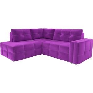 Диван угловой АртМебель Леос микровельвет фиолетовый левый угол