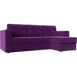 Диван угловой АртМебель Принстон микровельвет фиолетовый правый угол