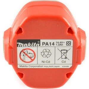 Аккумулятор Makita тип РА14, 14.4В, 1.3Ач, NiCd (193986-6) аккумулятор makita 12в 2ач nicd 1222 192597 4