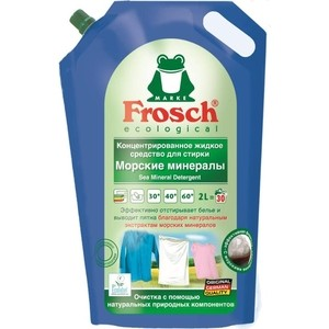 Концентрированное жидкое средство Frosch для стирки Морские минералы, 2 л жидкое средство для стирки белого белья лимон frosch 2 л