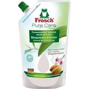 Жидкое мыло для рук Frosch Ухаживающее Миндальное молочко (запасная упаковка), 500 мл бальзам d'oliva для рук оливковое масло и миндальное молочко 100 мл