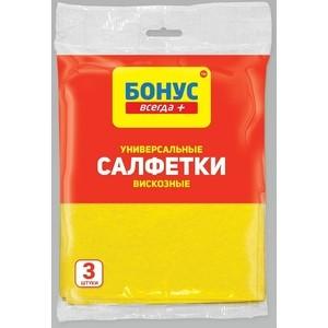 Салфетки БОНУС вискозные хозяйственные 3шт хозяйственные товары