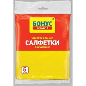 Салфетки БОНУС вискозные хозяйственные 5шт,30*38мм хозяйственные товары