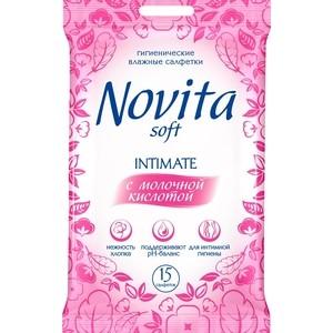 Влажные салфетки NOVITA для интимной гигиены Intimate 15 шт с молочной кислотой кл влажные салфетки д интимной гигиены 15шт 30шт 760 890