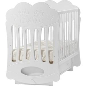 цены на Кроватка Кубаньлесстрой Baby Sleep-1 маятник поперечный белый БИ 43.2  в интернет-магазинах