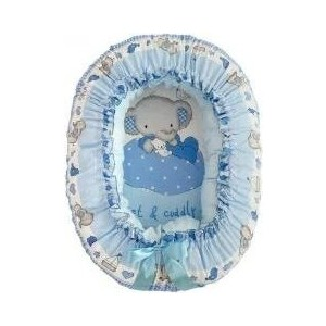Подушка валик гнездо Золотой гусь Слоник Боня голубой 8912