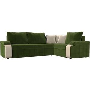 Диван угловой Мебелико Николь микровельвет зеленый/бежевый правый угол