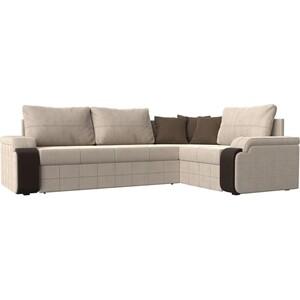Диван угловой Мебелико Николь рогожка бежевый/коричневый правый угол диван угловой мебелико николь рогожка коричневый бежевый левый угол