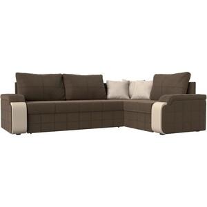 Диван угловой Мебелико Николь рогожка коричневый/бежевый правый угол диван угловой мебелико николь рогожка коричневый бежевый левый угол