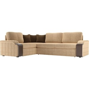 Диван угловой Мебелико Николь микровельвет бежевый/коричневый левый угол диван угловой мебелико николь рогожка коричневый бежевый левый угол
