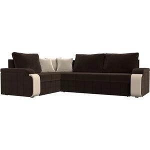 Диван угловой Мебелико Николь микровельвет коричневый/бежевый левый угол диван угловой мебелико николь рогожка коричневый бежевый левый угол